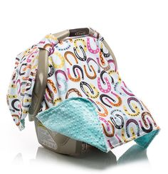 Girls Lucky Lady Horseshoe Carseat Canopy with Designer Cotton and Cuddle Dimple Minky on underside by Elonka Nichole Designs $45.00 www.elonkanichole.com