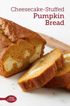 This easy pumpkin and cake mix bread gets an eye-catching swirl when it's stuffed with a creamy, cheesecake filling. Gourmet Recipes, Dessert Recipes, Cooking Recipes, Cheesecake Desserts, Cooking Games, Pumpkin Cheesecake, Cooking Classes, Bread Recipes, Pumpkin Bread