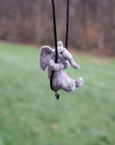 Tiny Elephant Necklace - needle felted