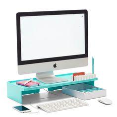 Poppin Aqua Monitor Riser | Modern Desk Accessories | Cool Office Supplies #workhappy