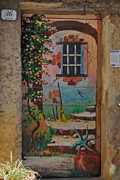 Ism't this trompe l'oeil door just amazing? A hand painted door in Valloria, Italy, a small city where artists have painted all the residential doors into unique and beautiful works of art! Cool Doors, The Doors, Unique Doors, Windows And Doors, Grand Entrance, Entrance Doors, Doorway, Door Knockers, Door Knobs