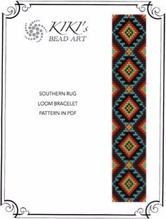 Bead loom pattern - Southern rug ethnic inspired LOOM bracelet pattern in PDF - instant download