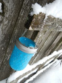 Hanging Mason Jar Lantern Teal Turquoise by CrownedWithBeauty