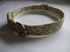 Handmade Cotton Dog Collar - Shimmery Gold Designs on Cream by WalkingTheDog on Etsy