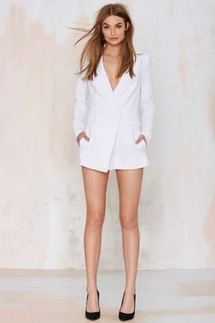 No Tux Given Blazer Romper - Rompers + Jumpsuits | Best Sellers | Back In Stock | Winter White | Riot Girl | Dresses | Clothes | All