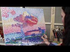 """Уроки живописи. Пуантилизм """"Розовое облако"""" - YouTube"""