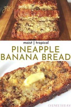 Banana Bread With Pineapple, Hawaiian Banana Bread Recipe, Recipes With Crushed Pineapple, Pineapple Desserts, Best Banana Bread, Banana Bread Recipes, Banana Bread Recipe With Butter, Pineapple Recipes Easy, Easy Banana Desserts