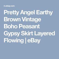 Pretty Angel Earthy Brown Vintage Boho Peasant Gypsy Skirt Layered Flowing   eBay