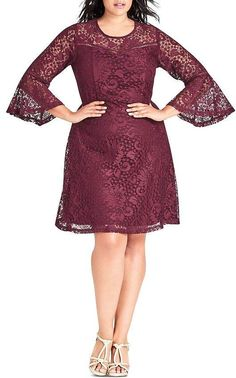 0cfb793a612 Trendy Plus Size Lace Fit   Flare Dress in 2019