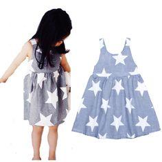 2016 Summer bobo choses kids Girl clothing Strap Dress Cartoon star pattern Striped princess dress Brands halter girl baby dress