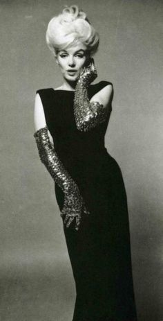 Marilyn in black dress and glitter gloves by Bert Stern, The Last Sitting for Vogue, 1962.
