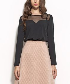 Look at this Black Sheer Top Notch Neck Top on #zulily today!
