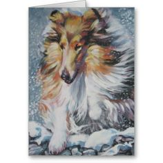 Rough Collie Christmas card from an original painting by L.A.Shepard