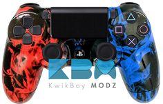 Custom Red Blue Inferno PS4 Controller - KwikBoy Modz #flames #ps4 #ps4controller #customps4controller #kwikboymodz