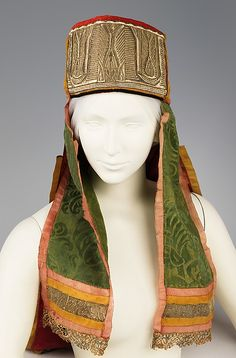 Headdress (image 1- Front) | Russian | 19th century | silk, metal, paper |  Brooklyn Museum Costume Collection at The Metropolitan Museum of Art | Accession Number: 2009.300.1108