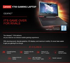 "Today Deals 20% OFF Lenovo Y700 - 15.6"" FHD Gaming Laptop (Intel Core i7 8 GB RAM 1TB HDD NVIDIA GeForce GTX 960M Windows 10) 80NV0026US 