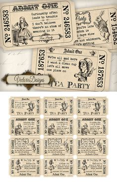 Hey, I found this really awesome Etsy listing at https://www.etsy.com/listing/127864857/alice-in-wonderland-tea-party-tickets
