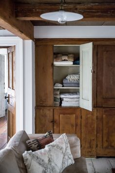 Like the storage cabinet and the rustic handles. Hudson Valley House by Jersey Ice Cream Co. Hudson Valley, Home Interior, Interior And Exterior, Interior Design, Chatham House, Cabinet D Architecture, Living Spaces, Living Room, Home Renovation