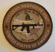 Tyranny Response Unit Velcro backed morale patch in Multicam Pro Gun