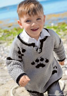 c72bc901325 Cерый пуловер для мальчика с мотивом «лапы»!. Обсуждение на LiveInternet -  Российский