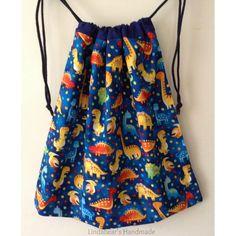 $18 Blue Dinosaur Drawstring Bag Large by LindabearsHandmade on Handmade Australia