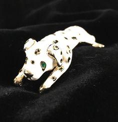 Dalmation Pin Shoulder Brooch Vintage Enameled Black White Gold   eBay