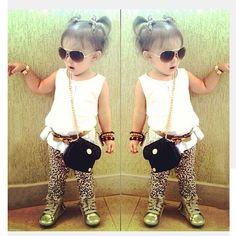 Outfits &Sets! 3PCS Baby Girls White T-shirt+leopard pants+belt Set Outfit 2-8T  #NEW #DressyEverydayHoliday