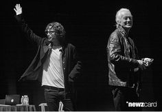 Chris Cornell and Jimmy Page wave to guests at An Evening With Jimmy Page And Chris Cornell In Conversation at Ace Hotel on November 12, 2014 in Los Angeles, California.  (Photo by Sean tSabhasaigh/WireImage)