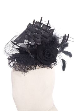 Victorian Gothic Store - Amazing black ship facinator, $69.00 (http://www.vicgothic.com/amazing-black-ship-facinator/)