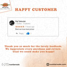 #CustomerReview #HappyCustomer💯   #Numberwale #BecauseNumberMatters #VIPNumbers #PremiumNumbers #CloudTelephony #IVR #VirtualReceptionist #SMS #BulkSMS #SMSService Fancy Numbers, Virtual Receptionist, Numerology Numbers, Lucky Number, Thank You So Much, Like You, Are You Happy, Vip