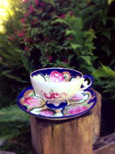 Antique Floral Teacup and Saucer
