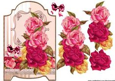 Screen card Antique Roses on Craftsuprint designed by Marijke Kok - Gorgeous antique roses on a screen card in lovely elegant color, for a lot of occasions, use your own sentiment. - Now available for download!