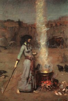 *The Magic Circle* is an oil painting in the Pre-Raphaelite style, created in 1886 by John William Waterhouse. The painting depicts a witch or sorceress drawing a fiery magic circle on the earth to create a ritual space.