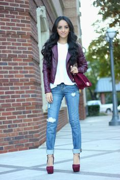 Oxblood Jacket: Forever 21, White peplum top: Topshop, Jeans: Charlotte Russe, Shoes: ShoeDazzle LEA  Bag: c/o ShoeDazzle ARLEY