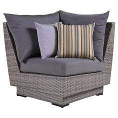"RST Brands Cannes Corner Chair with Cushions, Charcoal Grey, 31"" x 33"" x 33"". Overall dimensions: corner: 33 in w x 33 in d x 31 in h seat height: 19 in weight capacity: 400 lbs. Powder-Coated aluminum frame. Holds up great in salt and chlorinated environments. Warranty details: one year."