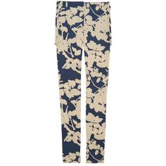 3.1 Phillip Lim Quince floral-print silk-blend crepe pants in stone and steel-blue. Floral-print silk-blend crepe. Belt loops, slant pockets, zip-fastening skirt overlay at back. Concealed hook, button and zip fastening at waist. 93% silk, 7% elastane. Dry clean. Designer color: Navy. US sizing. Fits true to size. Take your normal size. Straight-leg, mid-rise style.