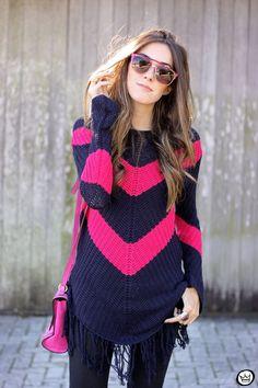 Inspiração de suéter rosa e marinho para o frio!