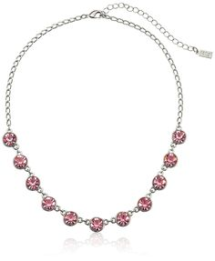 1928 Jewelry Silver-Tone Pink Genuine Swarovski Crystal Collar Adjustable Strand Necklace, 16' > You can get more details here : Jewelry Trends