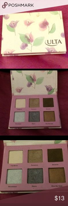 ULTA Eyeshadow palette💜 The colors on this palette are all beautiful! They are able to create several different looks:) brownie/romance/give me gold/ bayou/moonbeam/full moon are all the shades that I promise you will love. I am only letting this go because I have a similar palette with most of these colors. 🌺💄💋🎁🎀 ULTA Makeup Eyeshadow