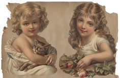 Victorian Children - Die-cut Chromolithograph Scraps from a Tattered Scrapbook Page   Flickr - Photo Sharing!