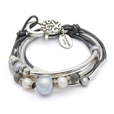 Princess 2 Strand wrap bracelet necklace with freshwater pearl and glass beads shown in Metallic Gunmetal leather, comes as shown