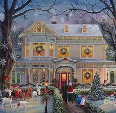 Noel Christmas, Country Christmas, Christmas Pictures, Christmas Greetings, Winter Christmas Scenes, Christmas Mantles, Silver Christmas, Christmas Ornaments, Christmas Stocking