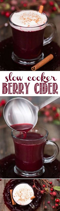 Slow Cooker Berry Cider is a heavenly hot crockpot party punch that's perfect for the holidays made with spiced apple cider and frozen Oregon berries! #oregonberries #slowcookercider #crockpotcider #berrycider #holidaypunch