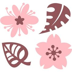 Silhouette Design Store - View Design #8487: flowers and leaves set