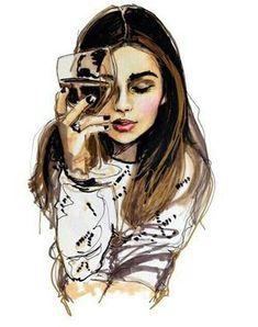 рисунок, напиток, девушка, вино