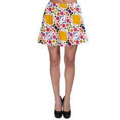 Dots and rhombus Skater Skirt