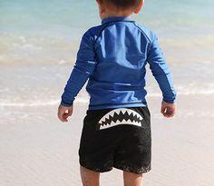 #swimzip can't wait for our little nugget to get in his swim gear Shark Attack - UV Sun Protective Rash Guard Swimsuit Set by SwimZip Sw | SwimZip Rash Guard Swimwear