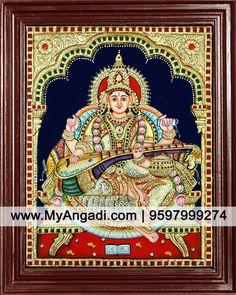 Saraswati Super Emboss Tanjore Painting Call us or Whatsapp @ 9597999274 #TanjorePainting #Painting #MyAngadi Jai Hanuman, Puja Room, Tanjore Painting, Mysore, Hindus, Front Yards, Indian Home Decor, Indian Gods, Indian Paintings