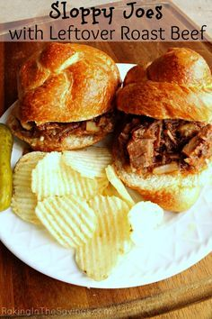 Sloppy Joes with Leftover Roast Beef ~ Turn your leftover pot roast into another meal in 20 minutes! Crock Pot Recipes, Roast Beef Recipes, Meat Recipes, Cooking Recipes, Roast Beef Cooking Temp, Hamburger Recipes, Recipies, Leftovers Recipes, Easy Dinner Recipes