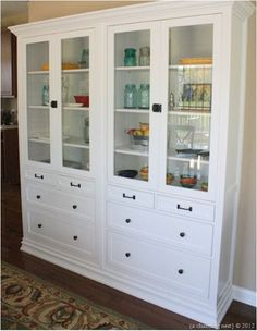 Wonderful Materials: Hemnes Glass Door Cabinet With 4 Drawers Description: We Used  Two Hemnes Cabinets To Make A Custom Built In China Cabinet In Our Kitchen.